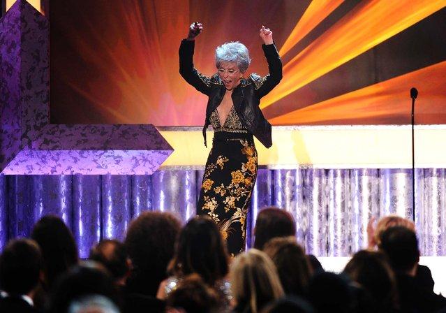 Rita Moreno accepts the Screen Actors Guild 50th Annual Life Achievement Award. (Photo by Frank Micelotta/AP Photo/Invision)