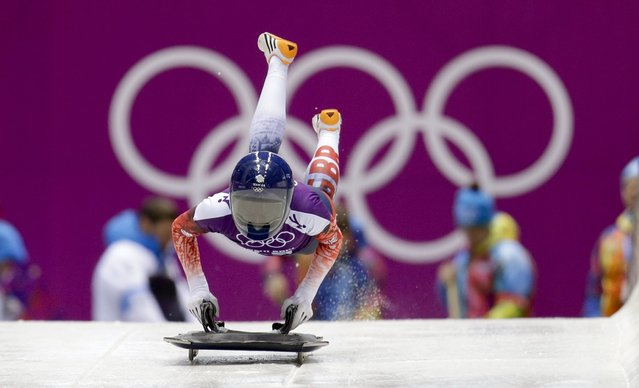 Britain's Shelly Rudman starts a training run for the women's skeleton during the 2014 Winter Olympics, Monday, February 10, 2014, in Krasnaya Polyana, Russia. (Photo by Natacha Pisarenko/AP Photo)