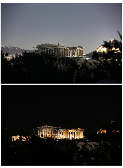 In this two photo combination picture, the temple of the Parthenon is pictured before and after having its lighting switched off to mark the Earth Hour in Athens on Saturday, March 19, 2016. Individuals, businesses, cities, and landmarks around the world are switching off their lights for one hour on Saturday to focus attention on climate change. (Photo by Yorgos Karahalis/AP Photo)