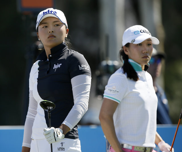 Jin Young Ko, left, of South Korea, watches her ball from the sixth tee with In-Kyung Kim, of South Korea, during the final round of the LPGA Tour ANA Inspiration golf tournament at Mission Hills Country Club in Rancho Mirage, Calif., Sunday, April 7, 2019. (Photo by Alex Gallardo/AP Photo)