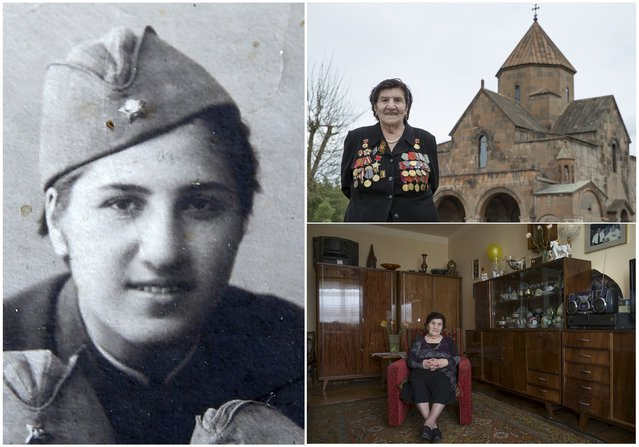 World War Two veteran Rozalia Abgaryan, 91, is seen in an undated handout picture (L), posing for a picture in front of a cathedral in Echmiadzin (Top R) and at home, in Armenia April 2015. Abgaryan served in an infantry unit of the Soviet Union army from October 1941 until December 1945. Originally from Armenia, the end of World War Two found her in Prague. (Photo by David Mdzinarishvili/Reuters/Family handout (L))