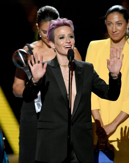 Megan Rapinoe speaks onstage during The 2019 ESPYs at Microsoft Theater on July 10, 2019 in Los Angeles, California. (Photo by Kevin Winter/Getty Images)
