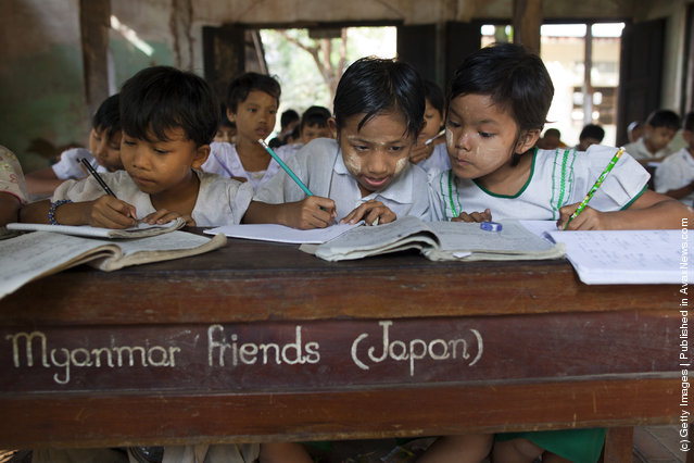 Students at a small government school in Waw township, Myanmar