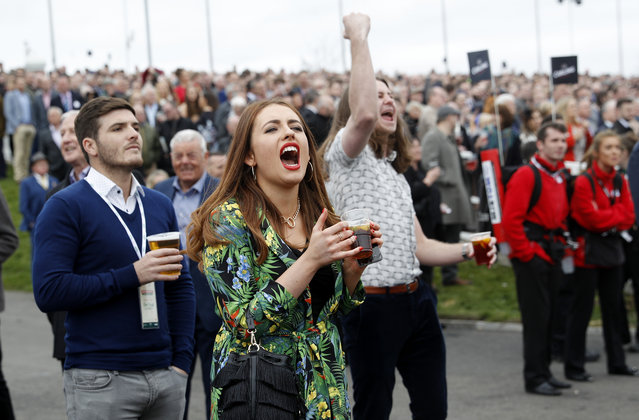 Racegoers during the Grand National Festival at Aintree Racecourse on April 6, 2017 in Liverpool, England. (Photo by Darren Staples/Reuters/Livepic)