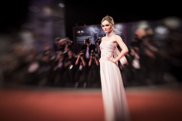 """Lily-Rose Depp attends """"The King"""" red carpet during the 76th Venice Film Festival at Sala Grande on September 02, 2019 in Venice, Italy. (Photo by Tristan Fewings/Getty Images)"""