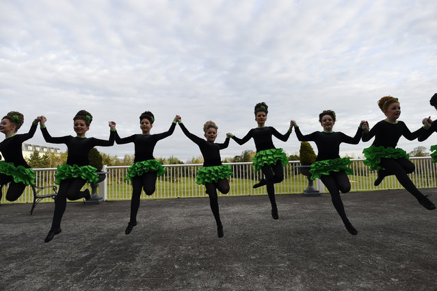 Dancers warm up before performing during the World Irish Dancing Championships in Dublin, Ireland on April 11, 2017. (Photo by Clodagh Kilcoyne/Reuters)