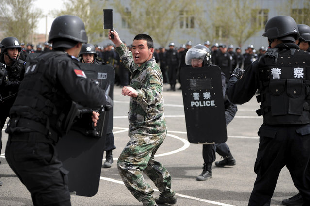 A participant playing the role of an attacker is surrounded by riot policemen during a security drill in Urumqi, Xinjiang Uighur Region April 26, 2014. (Photo by Reuters/Stringer)