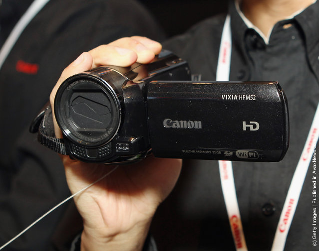 Canon displayed their recently released Vixia HFM52 video camera at the 2012 International Consumer Electronics Show
