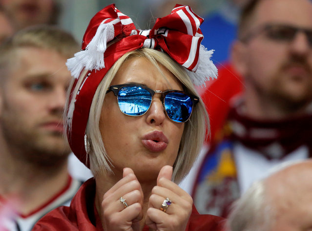Ice Hockey, 2016 IIHF World Championship, Group A, Kazakhstan vs Latvia, Moscow, Russia on May 14, 2016. Latvian fan reacts during the game. (Photo by Maxim Shemetov/Reuters)