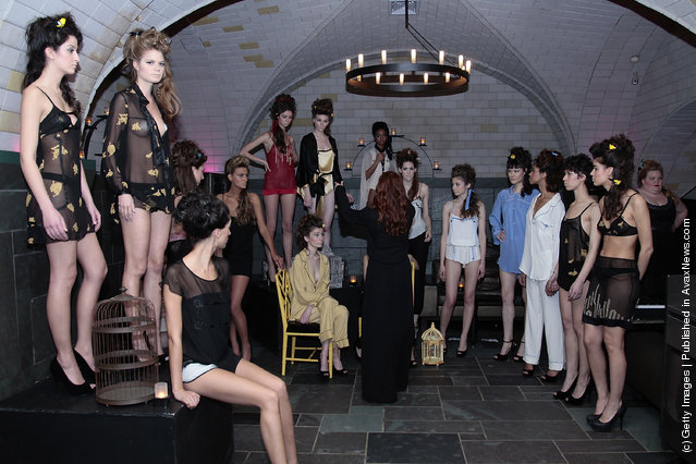 Models wearing lingerie by Ari Dein at the Ari Dein fall 2012 presentation during Mercedes-Benz Fashion Week