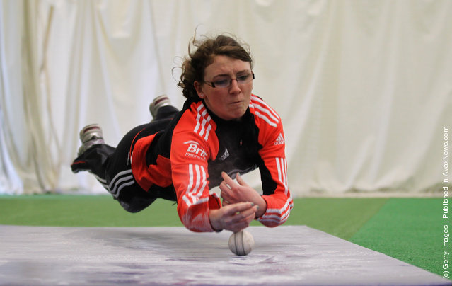 Beth Langston of England in action during an England Womens Cricket Squad Training and Portraits session at the National Cricket Performance Centre