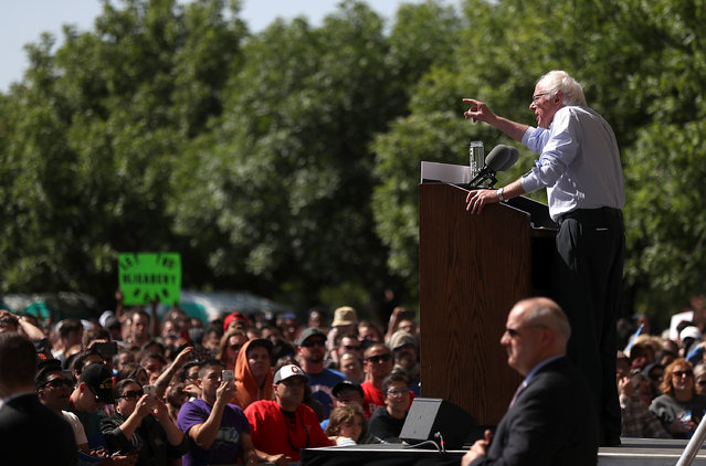 Democratic presidential candidate Sen.Bernie Sanders (D-VT) speaks during a campaign rally on May 10, 2016 in Stockton, California. Sanders is campaigning in California ahead of the state's June 7th presidential primary. (Photo by Justin Sullivan/Getty Images)