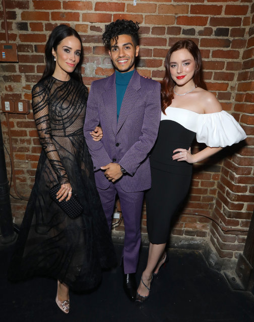 """(L-R) Abigail Spencer, Mena Massoud, and Madison Davenport attend the premiere of Hulu's """"Reprisal"""" Season One after party on December 05, 2019 in Hollywood, California. (Photo by JC Olivera/Getty Images)"""
