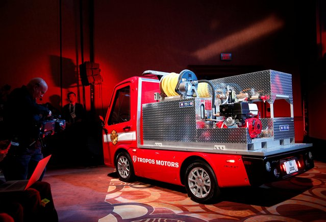 A Tropos Motors electric fire response vehicle is displayed at a Panasonic news conference during the 2020 CES in Las Vegas, Nevada, U.S., January 6, 2020. (Photo by Steve Marcus/Reuters)