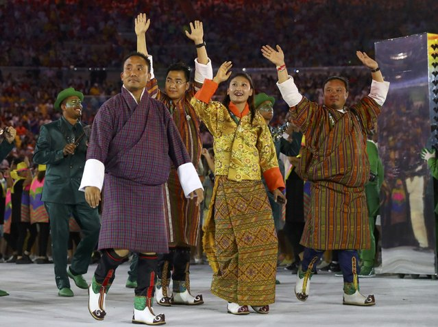 2016 Rio Olympics, Opening ceremony, Maracana, Rio de Janeiro, Brazil on August 5, 2016. Athletes of Bhutan take part in the opening ceremony. (Photo by Kai Pfaffenbach/Reuters)