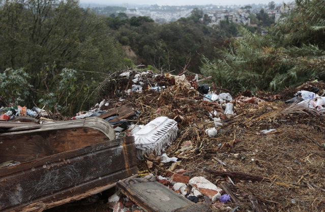 Broken and discarded coffins lie on the side of the Cemetery General in Guatemala City February 4, 2013. (Photo by Jorge Dan Lopez/Reuters)