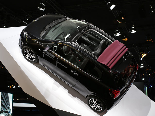 A new Peugeot 108 car is displayed on media day at the Paris Mondial de l'Automobile, October 2, 2014. (Photo by Benoit Tessier/Reuters)