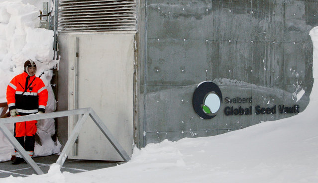 A guard stands watch outside the Global Seed Vault before the opening ceremony in Longyearbyen February 26, 2008. (Photo by Bob Strong/Reuters)