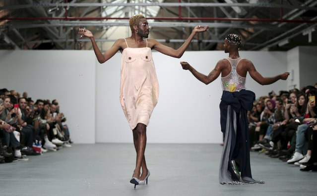 Models present creations from the Ashish Spring/Summer 2016 collection during London Fashion Week in London, Britain September 22, 2015. (Photo by Suzanne Plunkett/Reuters)