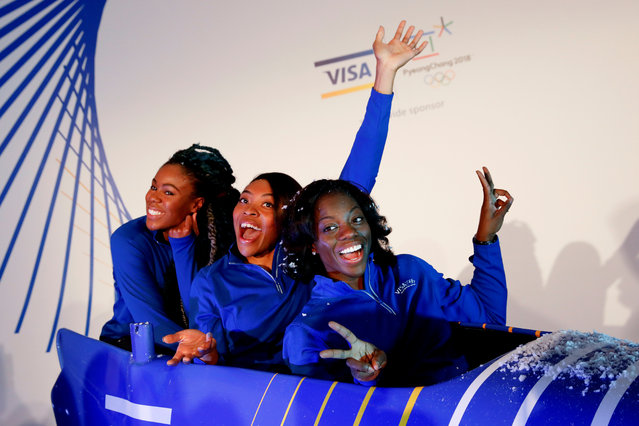 Seun Adigun, Ngozi Onwumere and Akuoma Omeoga, members of the Nigerian Women's Bobsled Team, pose during an event in the Manhattan borough of New York City on December 7, 2017. (Photo by Shannon Stapleton/Reuters)