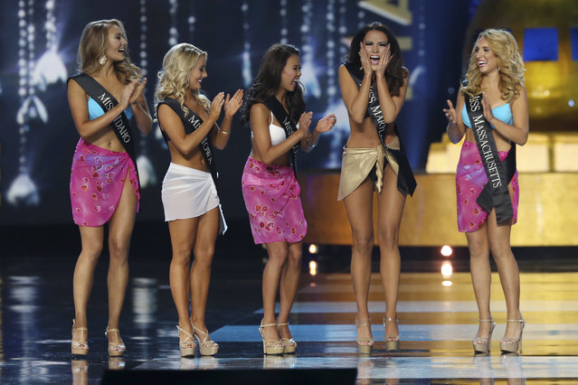 Miss Maryland 2016 Hannah Brewers reacts as she is selected to move on in the competition during the Miss America 2017 pageant, Sunday, September 11, 2016, in Atlantic City, N.J. (Photo by Mel Evans/AP Photo)