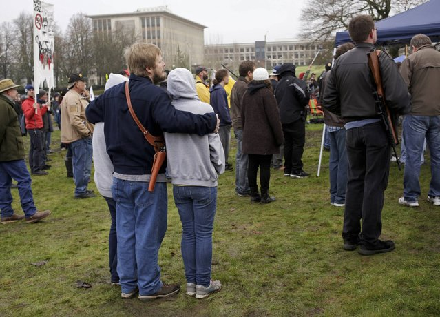Gun rights advocates rally against Initiative 594 at the state capitol in Olympia, Washington December 13, 2014. (Photo by Jason Redmond/Reuters)