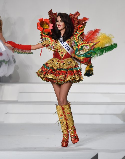 Miss Bolivia Alejandra Panozo Muguertegui displays her national costume during the Miss International beauty pageant in Tokyo on November 5, 2015. (Photo by Toru Yamanaka/AFP Photo)