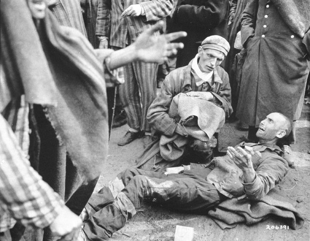 An inmate breaks out in tears as he finds out he is not leaving with the first group to the hospital May 4, 1945 after the U.S. liberation troops entered the concentration camp at Wobbelin in Germany. Many inmates were found in pitiful condition. (Courtesy of the National Archives/Newsmakers)