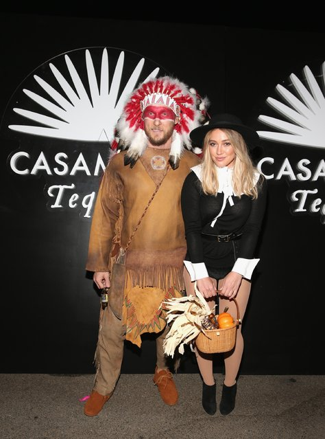 Actress Hilary Duff (R) and Jason Walsh arrive to the Casamigos Halloween Party at a private residence on October 28, 2016 in Beverly Hills, California. (Photo by Todd Williamson/Getty Images for Casamigos Tequila)