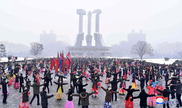 Celebratory dance festival takes place for the 100th birth anniversary of Kim Jong-suk and former leader Kim Jong-il's 26th anniversary of his inauguration as supreme commander of the Korean People's Army in this undated photo released by North Korea's Korean Central News Agency (KCNA) in Pyongyang December 24, 2017. (Photo by Reuters/KCNA)