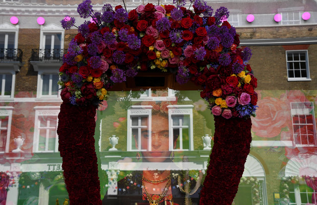 Detail is seen of a floral display and design outside of a shop front which is participating in the Chelsea In Bloom festival in London, Britain on May 22, 2018. (Photo by Toby Melville/Reuters)