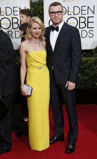 Actors Naomi Watts and Liev Schreiber arrive at the 72nd Golden Globe Awards in Beverly Hills, California January 11, 2015. (Photo by Mario Anzuoni/Reuters)