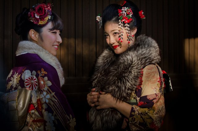"""""""Coming of Age"""". Seijin no Hi or Coming of Age Day is a traditional Japanese holiday which is organized on the second Monday in January. In Japan the age of majority is 20 wearing kimono. Location: Harajuku, Tokyo, Japan. (Photo and caption by Danilo Dungo/National Geographic Traveler Photo Contest)"""