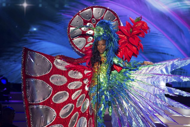 Jevon King, Miss Trinidad & Tobago 2014, debuts her national costume during the Miss Universe Preliminary Show in Miami, Florida in this January 21, 2015 handout photo. (Photo by Reuters/Miss Universe Organization)