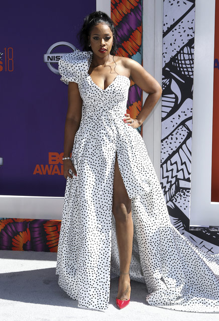 Remy Ma arrives at the BET Awards at the Microsoft Theater on Sunday, June 24, 2018, in Los Angeles. (Photo by Willy Sanjuan/Invision/AP Photo)