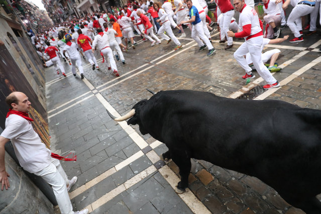 Revellers attempt to dodge a bull during the first running of the bulls of the San Fermin festival in Pamplona, Spain, July 7, 2018. (Photo by Susana Vera/Reuters)