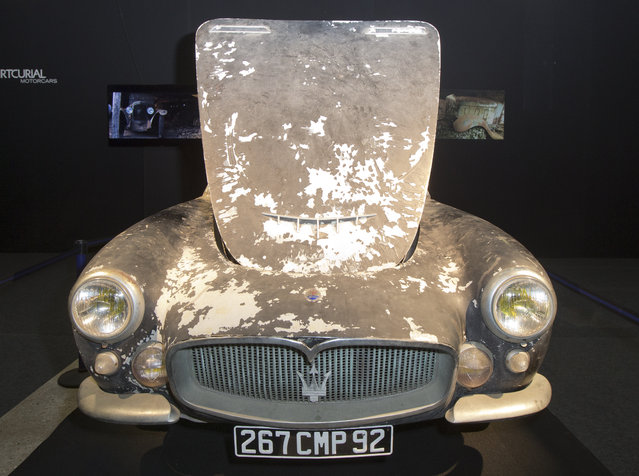A Maserati A6G 2000 Gran Sport Berlinetta Frua is displayed during a preview for an auction of vintage cars Retromobile show in Paris, Tuesday, February 3, 2015, after a treasure trove of classic cars was discovered after spending 50-years languishing in storage on a farm. (Photo by Jacques Brinon/AP Photo)