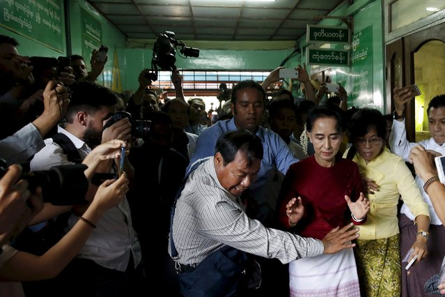 Nobel Peace Prize winner Aung San Suu Kyi, who spent fifteen years under house arrest, was handed sweeping powers following her landslide victory in Myanmar's election in November. The ruling party, which was created by the country's former junta and is led by retired military officers, conceded defeat in a major milestone on Myanmar's rocky path from dictatorship to democracy. Pictured in Yangon, November 8, 2015. (Photo by Jorge Silva/Reuters)