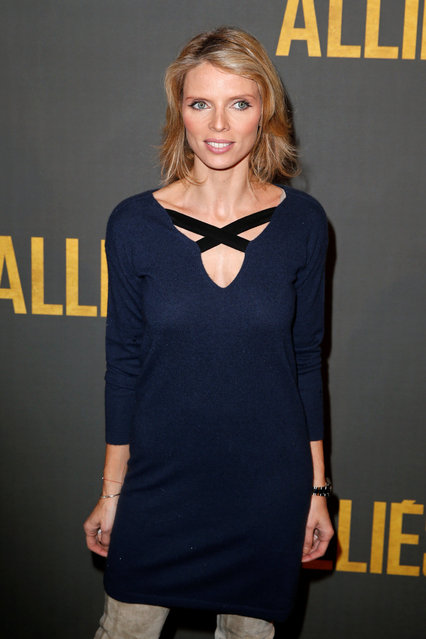 """French model Sylvie Tellier poses at a premiere of the film """"Allied"""" in Paris, France November 20, 2016. (Photo by Benoit Tessier/Reuters)"""