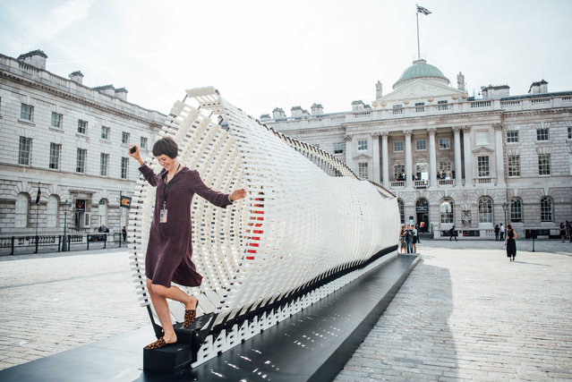 """Disobedience"" installation by Nassia Inglessis at the Greek Pavilion in the London Design Biennale at Somerset House in London, UK on September 3, 2018. (Photo by Scott Garfitt/Rex Features/Shutterstock)"