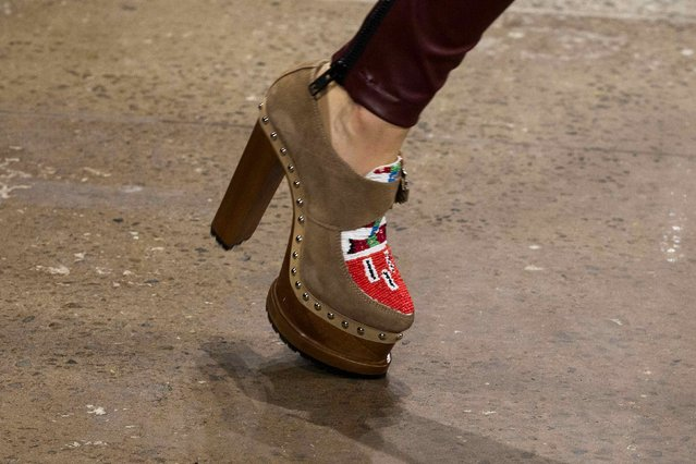 A model presents a shoe from the KTZ Fall/Winter 2015 collection during New York Fashion Week, February 17, 2015. (Photo by Lucas Jackson/Reuters)