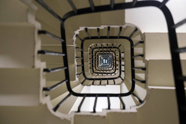 The spiral staircase within the Elizabeth Tower at the Palace of Westminster in London, UK. (Photo by Reuters)