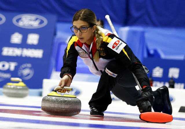 Germany's skip Daniela Driendl delivers a stone during her curling round robin game against Finland during the World Women's Curling Championships in Sapporo March 16, 2015. (Photo by Thomas Peter/Reuters)