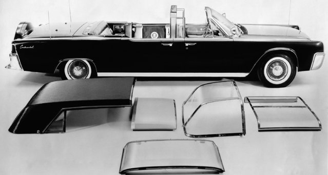 This June 1961 photo provided by the Ford Motor Co. shows President. John F. Kennedy's Lincoln Continental limousine. The limo was the first presidential car equipped with a transparent roof for all compartments and has other options including fabric roof covering, or use as a convertible, as well as combinations for the rear, middle and front compartments. (Photo by AP Photo/Ford Motor Co.)