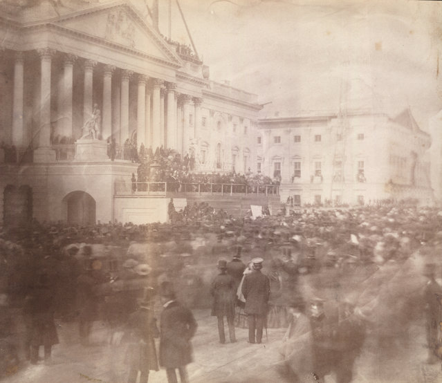 The first-known photograph of a presidential inauguration shows James Buchanan at the east front of the U.S. Capitol during his March 1857 inauguration. (Photo by Reuters/Library of Congress)