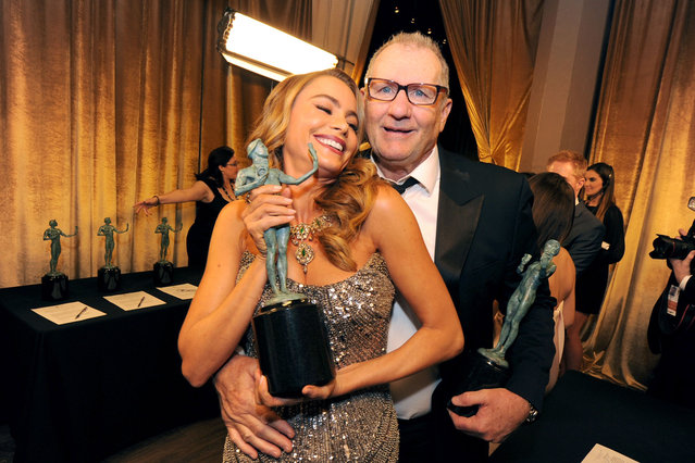 Actress Sofia Vergara (L) and actor Ed O'Neill attend the 20th Annual Screen Actors Guild Awards at The Shrine Auditorium on January 18, 2014 in Los Angeles, California. (Photo by Kevin Winter/WireImage)