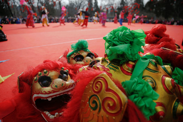 Costumes are placed on the stage before the lion dance performance at the Longtan park as the Chinese Lunar New Year, which welcomes the Year of the Rooster, is celebrated in Beijing, China January 29, 2017. (Photo by Damir Sagolj/Reuters)