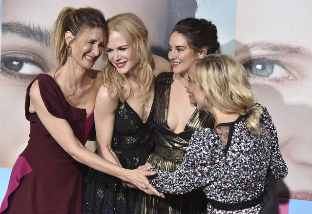 "Laura Dern, from left, Nicole Kidman, Shailene Woodley, Zoe Kravitz and Reese Witherspoon arrive at the Los Angeles premiere of ""Big Little Lies"" at the TCL Chinese Theatre on Tuesday, February 7, 2017. (Photo by Jordan Strauss/Invision/AP Photo)"