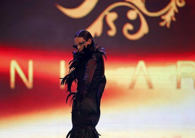 A model presents a creation by Maltese designer Nilay Topal Camilleri of Nilara at the Malta Fashion Awards 2015 at the Marsa Shipbuilding warehouse in Marsa, outside Valletta in Malta, May 16, 2015. (Photo by Darrin Zammit Lupi/Reuters)