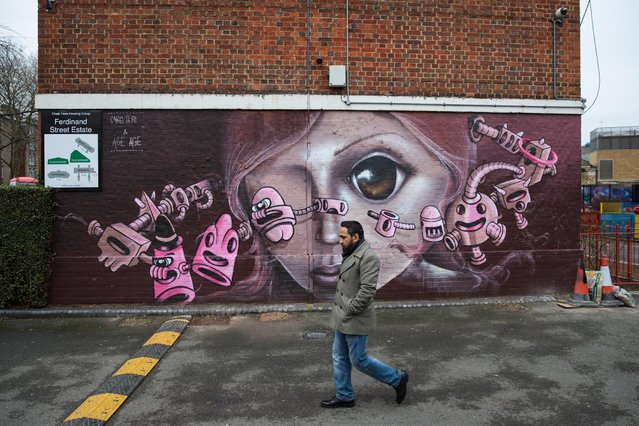 A piece of street art is pictured in the Ferdinand housing estate in Chalk Farm on February 6, 2017 in London, England. Street artists from around the world have completed a series of murals in the north London estate with the permission of Camden Council. (Photo by Jack Taylor/Getty Images)